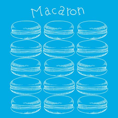 Macaroni cake hand drawn on blue background. Vector illustration.