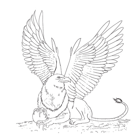 griffioen zwart-wit schets cartoon doodle vectorillustratie