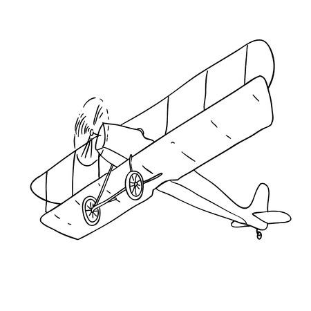 vintage airplane black and white sketch cartoon doodle vector illustration