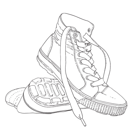 sneakers black and white sketch cartoon doodle vector illustration