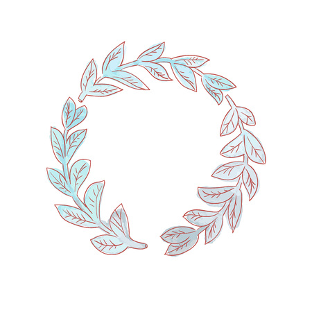 painted wreath. floral ornament. leaves branch vector illustration 일러스트