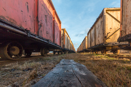 low angle view of an old rusty mine carts for peat mining