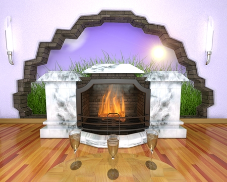 marble fireplace in the room photo