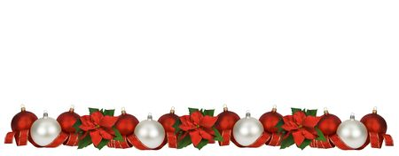 horizontal: Horizontal Christmas border of poinsettia, balls and ribbon on white. Large size.