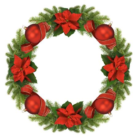 christmas wreath: Christmas wreath isolated on white background.