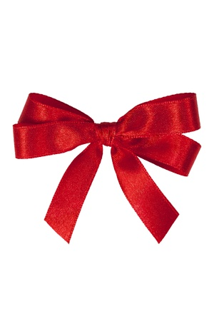 red ribbon bow: Red holiday bow on white with clipping path. Stock Photo