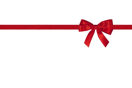 luky: Red bow and horizontal ribbon on white.