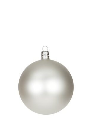 Silver Christmas bauble isolated in white background Stock Photo - 8453543