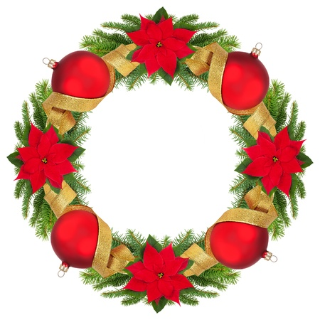 Christmas wreath isolated on white. photo