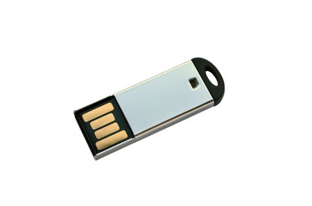 usb flash memory: Portable USB flash memory key isolated on white Stock Photo