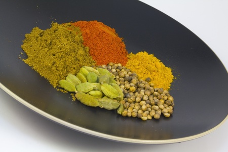 A plateful of colourful east Indian curry spices Imagens