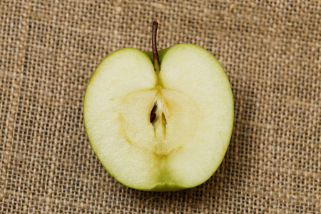 bagging: Half small green apple on the bagging