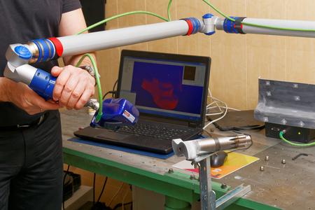 リバース エンジニア リングの 3 D スキャナー。CNC をデジタル化。