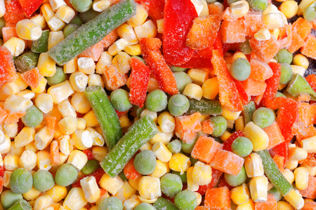 Assortment of frozen colorful mixed vegetables ,close up