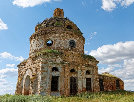 obsolete: The ruins of the old obsolete and abandoned church Stock Photo