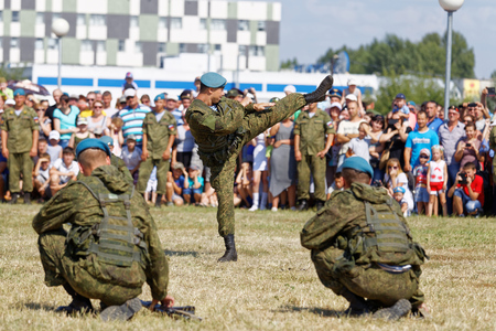 Ulyanovsk, Russia - July 31, 2016: Demonstrations of soldiers during the celebration of the Airborne Forces. The Russian Airborne Troops or VDV is a military branch of the Armed Forces of the Russian Federation.
