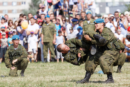 Ulyanovsk, Russia - July 31, 2016: Demonstration battle during the celebration of the Airborne Forces. The Russian Airborne Troops or VDV is a military branch of the Armed Forces of the Russian Federation.