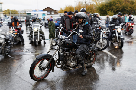 motorcyclist: Ulyanovsk, Russia - October 15, 2016. Motorcyclist at the meeting dedicated to the closing of riding season.