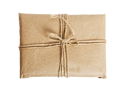 cardbox: Parcel with kraft paper tied with twine isolated on white background. Top view. Stock Photo