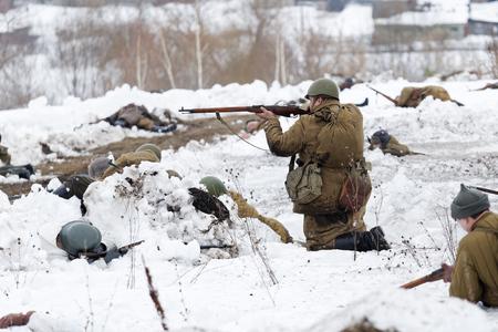 Ulyanovsk, Russia - February 25, 2017:  Scene of battle during reenactment of World War II battle. Military-historical festival Immortal feat Editorial