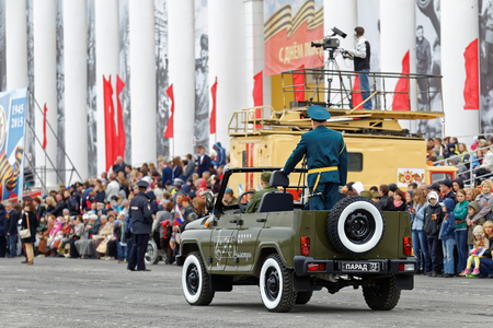 soldiers: Ulyanovsk, Russia - May 9, 2015: Parade on an annual Victory Day (WWII) Editorial