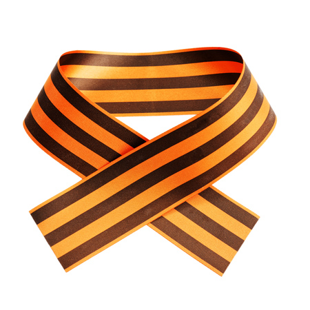 St. George ribbon isolated on white. The symbol of the Russia Victory Day on May 9.