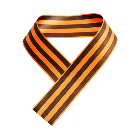 St. George ribbon in the form of the number 9 isolated on white. The symbol of the Russia Victory Day on May 9. Stock Photo