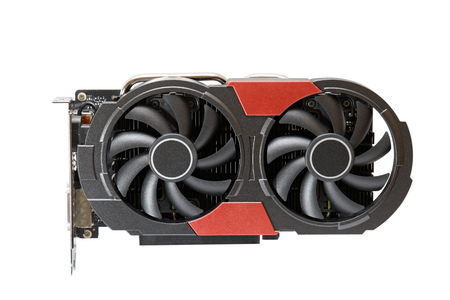 Graphic videocard with two fans for gaming or mining cryptocurrency isolated on white