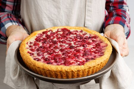 Closeup freshly baked homemade raspberry pie with yogurt filling in the hands of the housewife Reklamní fotografie
