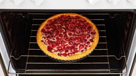 Homemade raspberry pie with yogurt filling cooked in the domestic oven. Shallow focus. Stock fotó