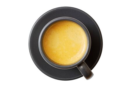 Closeup dark cup of coffee espresso isolated on white. 免版税图像