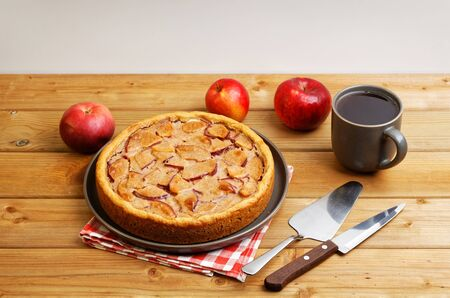 Homemade pie with apple, cinnamon and yogurt topping on wooden table