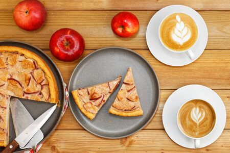 Homemade pie with apple, cinnamon and yogurt topping on wooden table.