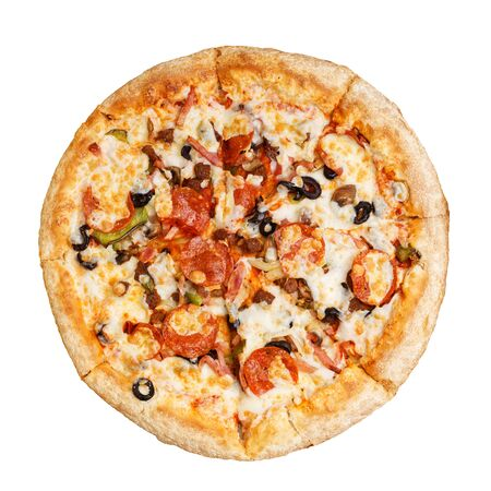 Closeup pizza with pepperoni, mushrooms, bacon and olives isolated on white.