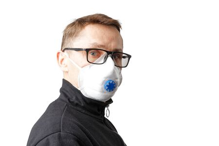 Closeup portrait of a man with glasses and a protective mask isolated on white. Copyspace.