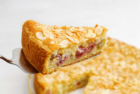 Closrup piece of homemade gooseberry pie garnished with almond petals. Shallow focus. 写真素材