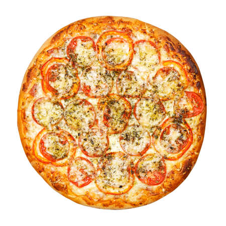 Pizza with tomatoes, peppers, sausage and cheese isolated on white. Top view. 免版税图像