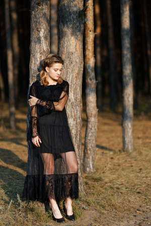 Portrait of a young beautiful girl in a black dress strolling in the park among the trees. Blurred background. 免版税图像