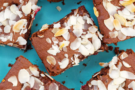 Close-up brownies with almond petals. Top view.