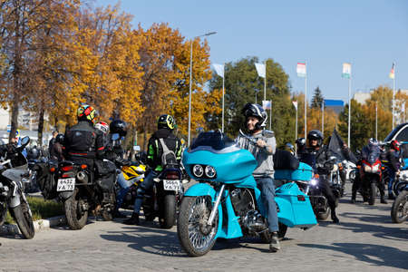 Ulyanovsk, Russia - October 03, 2020. Motorcyclist at the meeting dedicated to the closing of riding season.