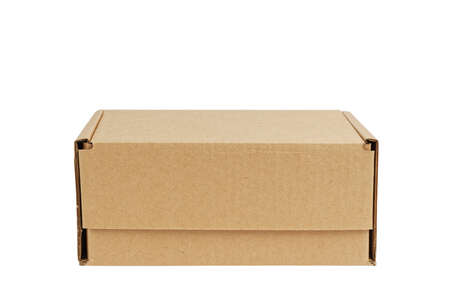 Closed brown cardboard box without label. Box for parcel, delivery or packaging isolated on white background. Copyspace. 免版税图像