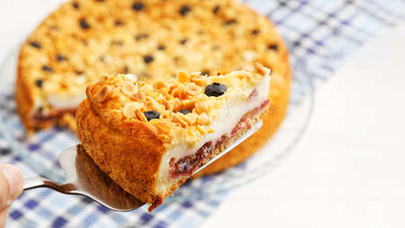 Piece of cake with cottage cheese souffle and plum decorated with almonds and blueberries. Shallow focus.
