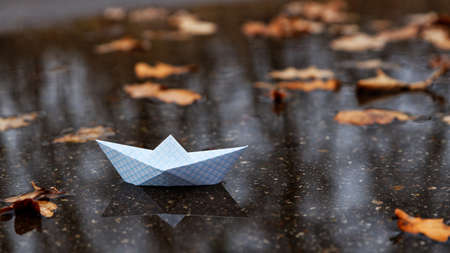 Paper boat floating on the water of an autumn puddle among fallen leaves. Shallow focus.