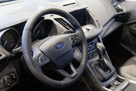 Ulyanovsk, Russia - September 23, 2018: Steering wheel and interior of a car FORD