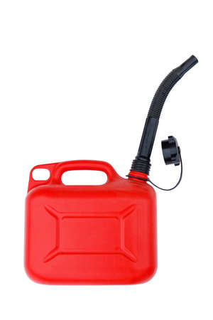 Red plastic canister with black spout for gasoline or other fuel. Isolated on white. 스톡 콘텐츠
