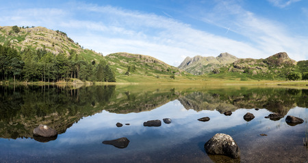 langdale pikes: Looking across Blea Tarn, with the Langdale Pikes in the distance.