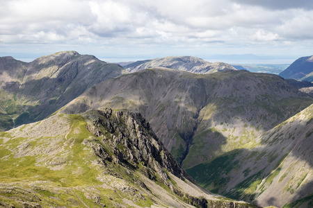unspoilt: Looking towards Kirk Fell, on the final climb upto Scafell Pike. Stock Photo