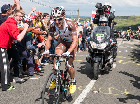 Holmfirth, UK - July 6th, 2014: The peleton of the Tour De France climbs Holme Moss, near Holmfirth, Yorkshire