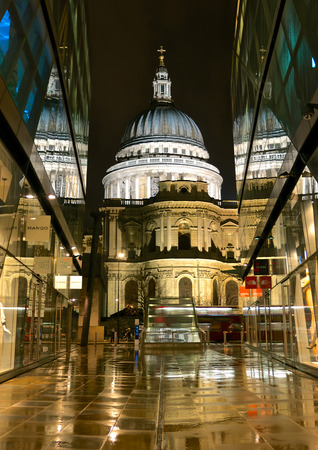 st pauls: London, UK - February 24, 2014: St Pauls Cathedral viewed from the entrance to 1 New Change