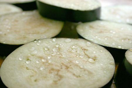 Closeup of Salted Eggplants Stock Photo